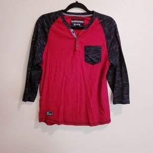 Distortion Red/Black/Grey 3/4 Sleeve Shirt